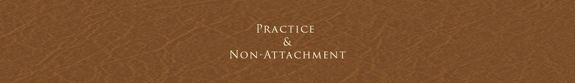 Practice and Non-Attachment
