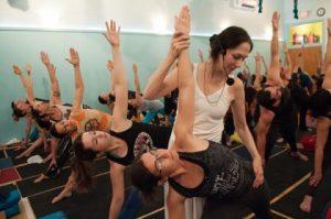 Sharon Gannon teaching a yoga class