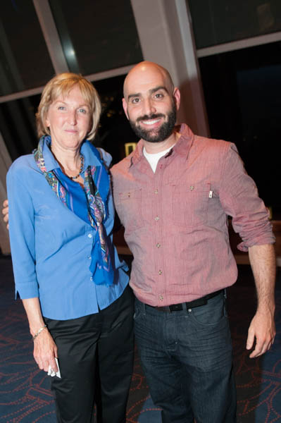 Ingrid Newkirk with Jivamuktea Café manager Tau Braun